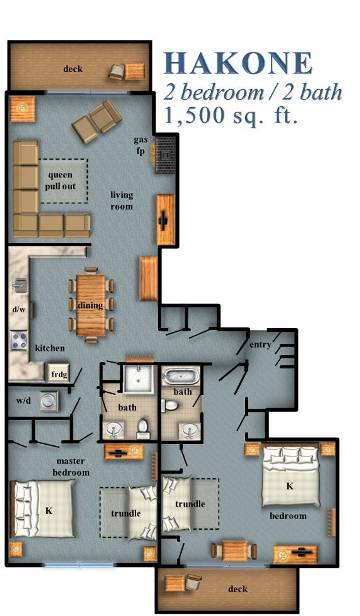 Hakone Two Bedroom Floor Plan